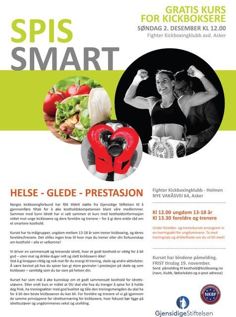 Spis smart kurs for kickboxere, kostholdskurs for medlemmer av NKBF
